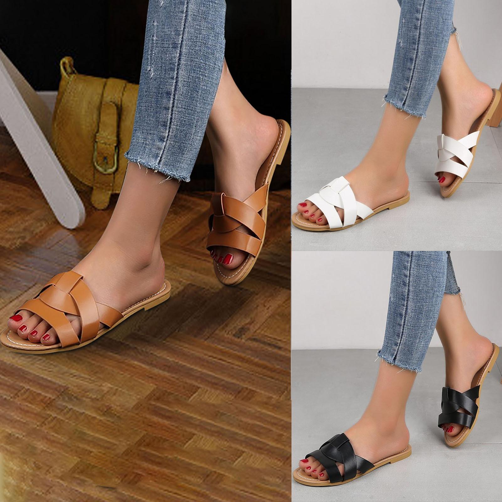 Summer Leisure Beach Shoes One-flip Cross Open Toe Flat Sandals For Women sandalias mujer chaussure