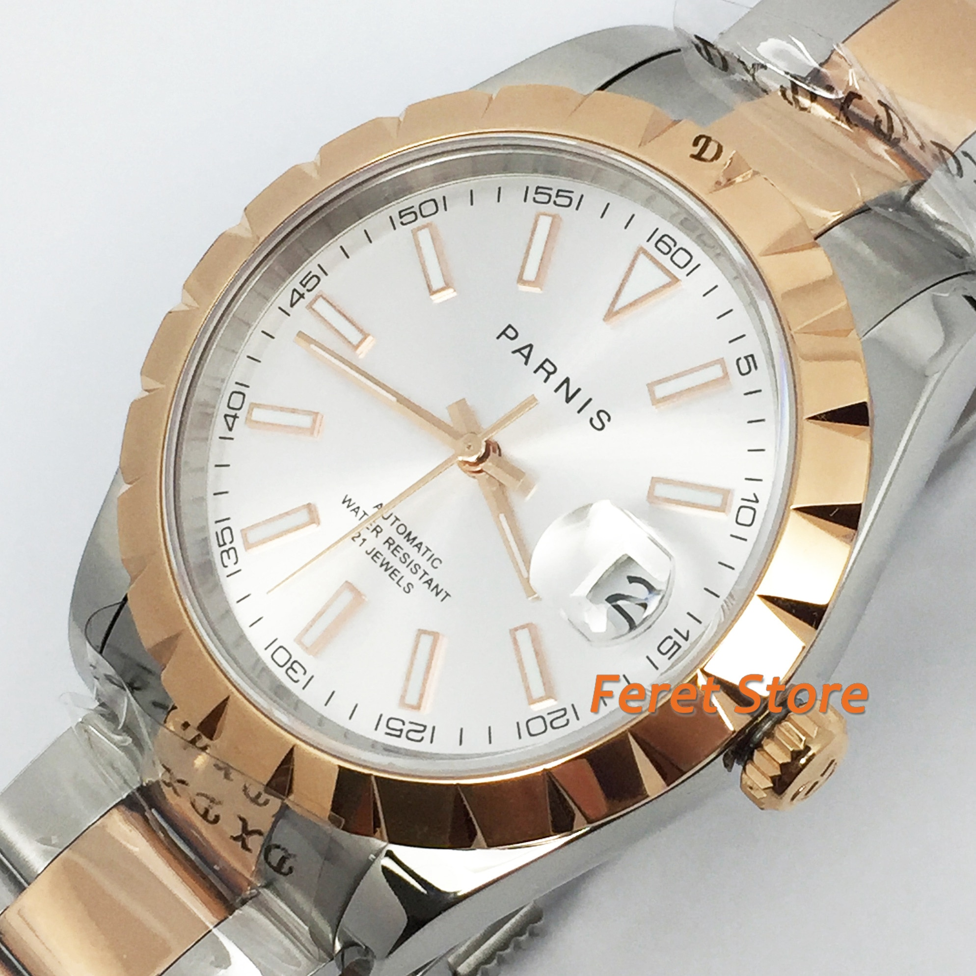 Parnis, novedad de 2020, reloj de negocios para hombres, carcasa de oro rosa, cristal de zafiro con abertura para fecha, 21 joyas, mecanismo Miyota, reloj automático