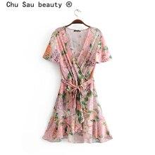 Chu Sau beauté Boho Chic imprimé fleuri Midi robe portefeuille femmes vacances nœud ceintures col en v Mini robes femme belle vêtements de plage