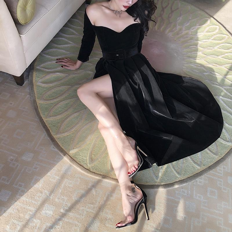 Le Palais Vintage 2020 Fall Winter New Elegant Velvet Black Slash Neck Collect Waist Classic Chic Split Sexy Long Dress Women
