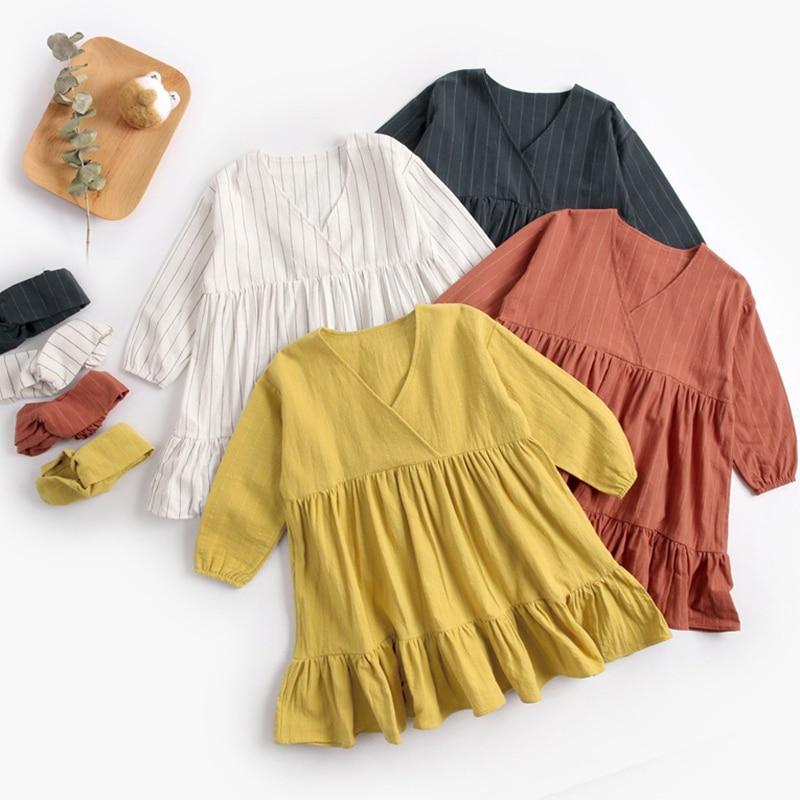 Платье для маленьких девочек + повязка на голову, Осеннее однотонное Плиссированное Повседневное платье принцессы для малышей Весенняя сво...