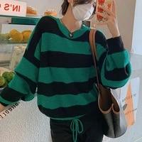autumn winter knitted striped sweater women casual oversized pullovers sweaters loose warm jumper streetwear teen knitwear