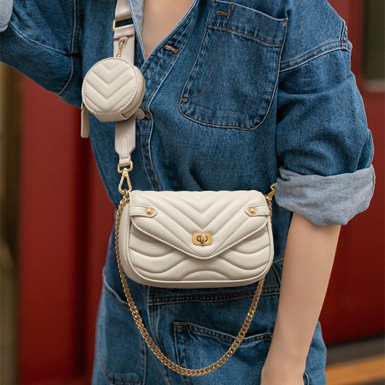 صغيرة حقيبة كتف جلدية PU للنساء 2021 جديد محفظة و حقائب الإناث السفر Crossbody حقيبة السيدات سلسلة حقيبة رافعة 2 قطعة/المجموعة