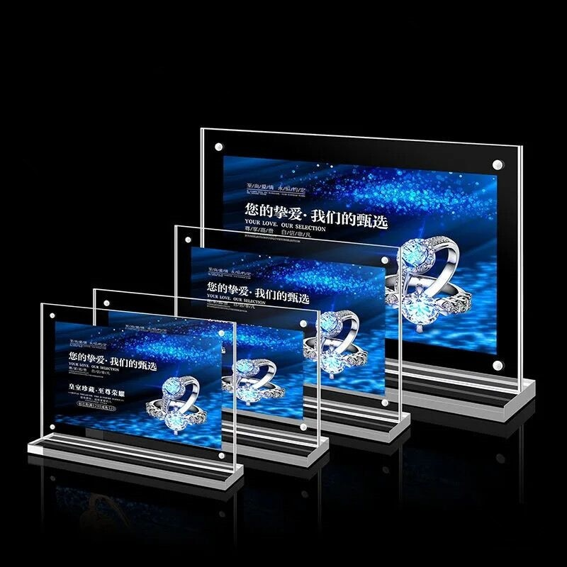 1pc 5 6 7 8 inch clear acrylic photo frame magnetic picture photo poster display frame for table sign price tag label promotion A5 Magnetic Acrylic Menu Sign Holder Stand Table Picture Photo Poster Display Frame Promotion Advertising