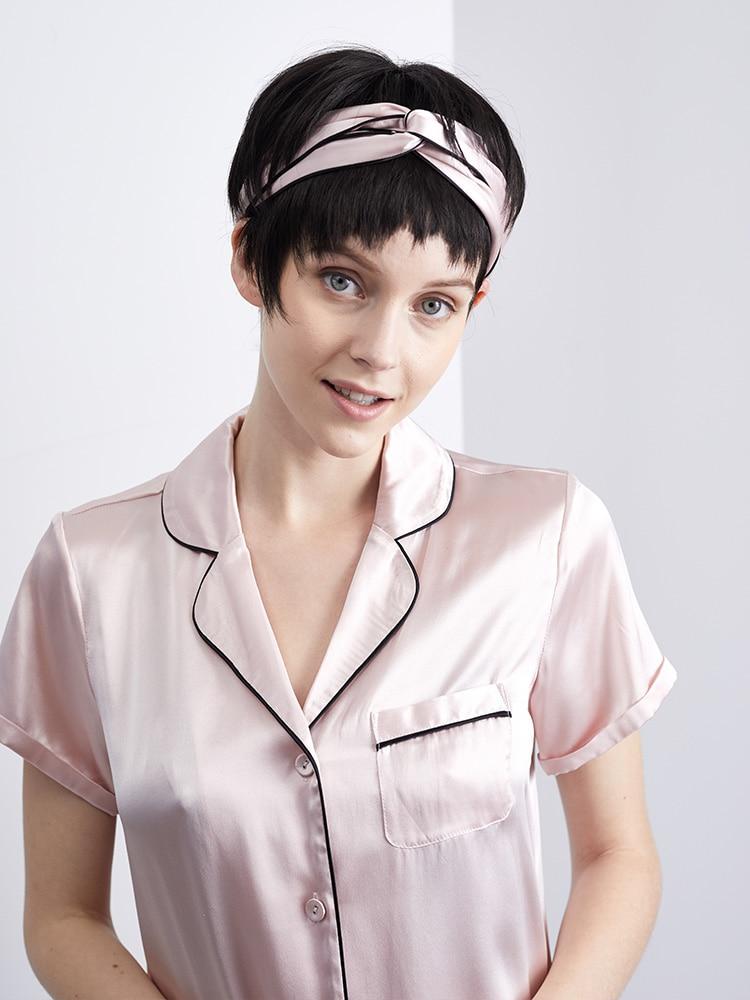 DISANGNI Contra Short Silk Pajama Set