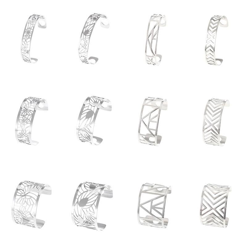 Женские широкие браслеты Cremo, браслеты-манжеты из нержавеющей стали, сменные кожаные браслеты