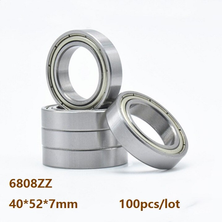 100 unids/lote 6808ZZ 6808 ZZ 6808Z 40 × 52 × 7mm de rodamiento de bolas de ranura profunda doble cubierta de metal 40*52*7mm
