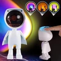 astronaut rainbow charging light usb 360 led robot projector night light rainbow sunset light bedroom atmosphere table lamp