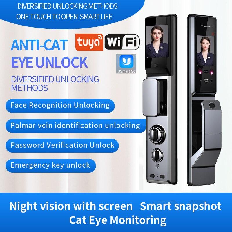 Review TUYA smart door lock unlock face palm home door fingerprint lock APP Remote control monitor passward lock with doorbell lock