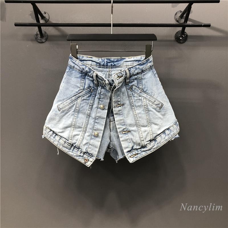 stripe contrast raw hem ripped denim shorts 2021 Spring Summer New Denim Hot Pants Women's High Waist Slimming Ripped Raw Edge Jeans Shorts Light Blue Black