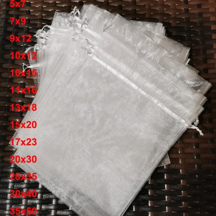 100pcs/lot 5x7 9x12 17x23 25x35 30x40 cm Big White Organza Bags Drawstring Pouch For Jewelry Beads Wedding Gift Packaging Bag