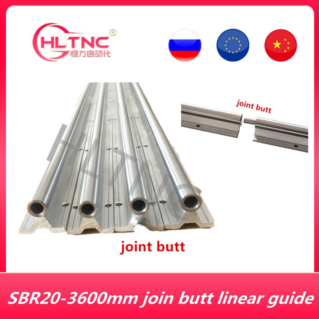 Abutting مشترك 2 مجموعة SBR20-3600mm 20 مللي متر يؤيد تماما خطي السكك الحديدية رمح قضيب مع 10 SBR20UU