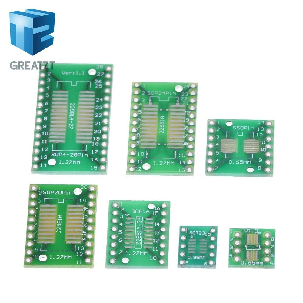 Great zt 35 pièces = 7 valeur * 5 pièces Kit de carte de circuit imprimé SMD tourner pour tremper SOP MSOP SSOP TSSOP SOT23 8 10 14 16 20 24 28 SMT pour tremper