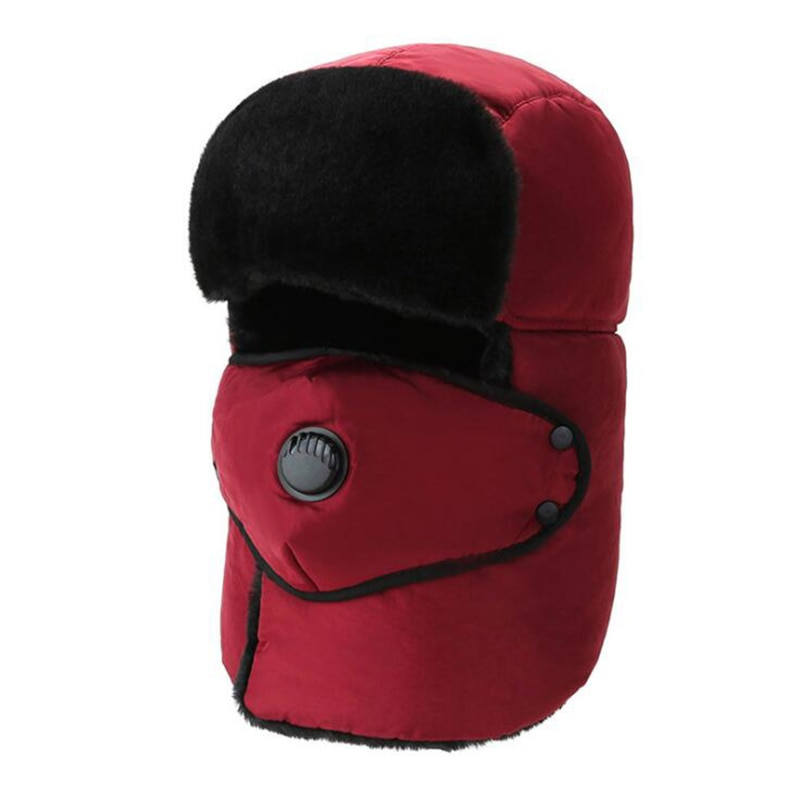 Winter Thick Earmuffs Hat Breathable Detachable Face Mask Hat Warm Windproof Solid Color Ear Cap Fas