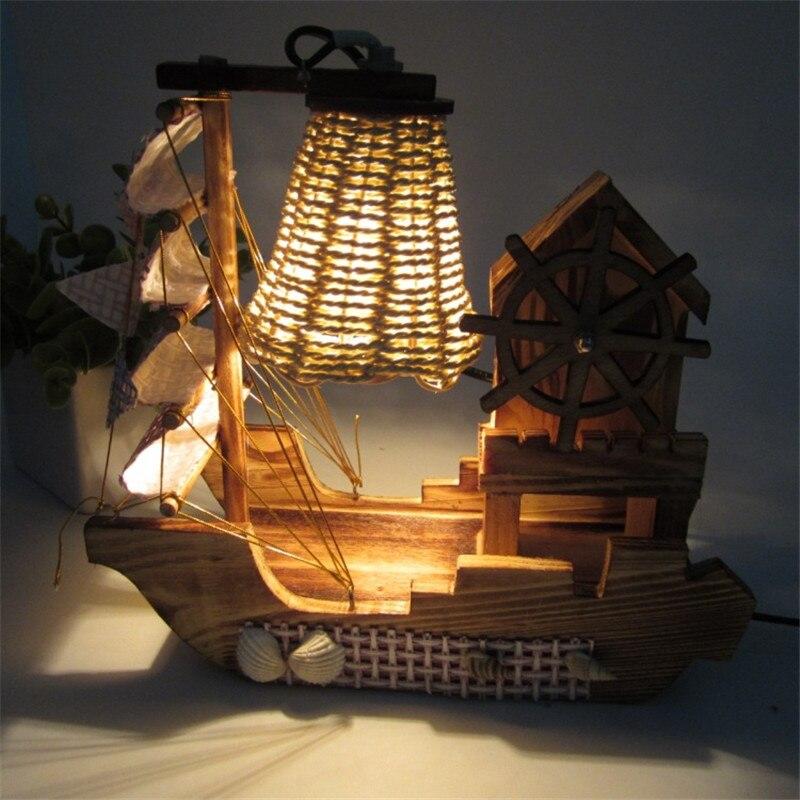 Lámpara de velero Retro forma de barco de mar luz de noche decorativa de madera luz de noche para bebés y niños cumpleaños navidad regalo habitación Art Deco