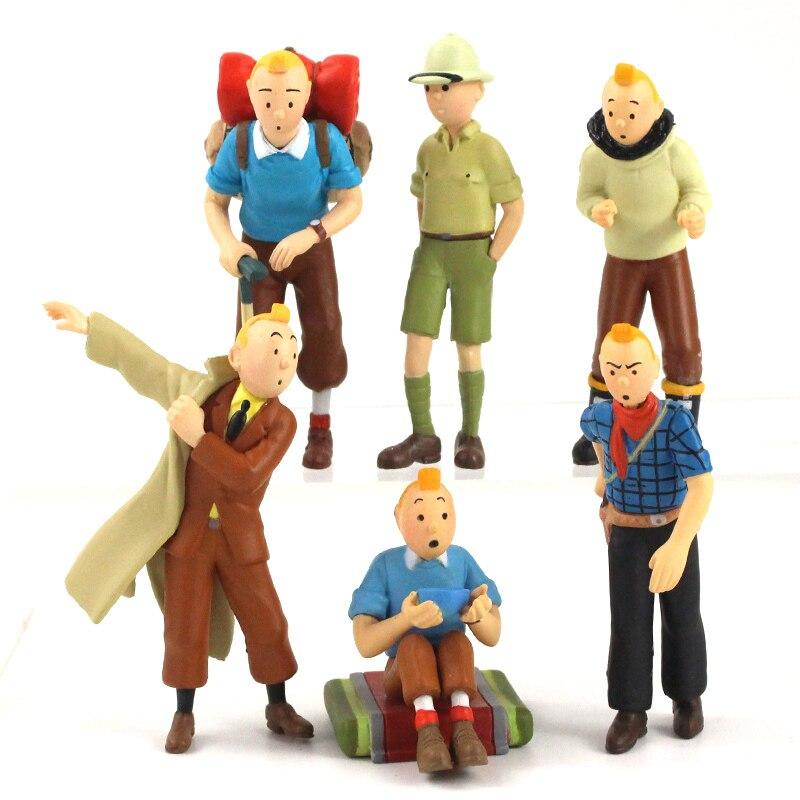 5.5-8.5cm 6 pçs/lote as aventuras de tintin brinquedos pvc dos desenhos animados estanho mini figura de ação bonecas presentes para crianças