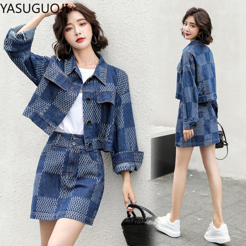 YASUGUOJI-جاكيت جينز نسائي ، معطف وتنورة جينز صغيرة ، طقم من قطعتين ، ياقة مقلوبة ، أزرار ، جينز ، معاطف ، تنورة ، بدلات