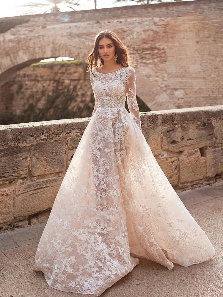 Review Wedding dress Lace wedding dress o-neck retro atmospherebridal dresses long sleeve fluffy skirt 3d flower custom made