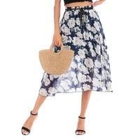 slim chiffon floral beach long skirt female new fashion