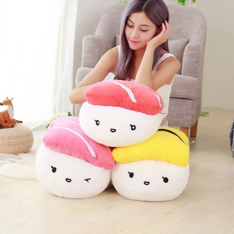Kawaii وسادة الإبداعية اليابان السوشي شكل ألعاب من القطيفة محشوة لينة وسادة أريكة محاكاة الغذاء دمية هدية للفتيات طفل الفتيات هدية