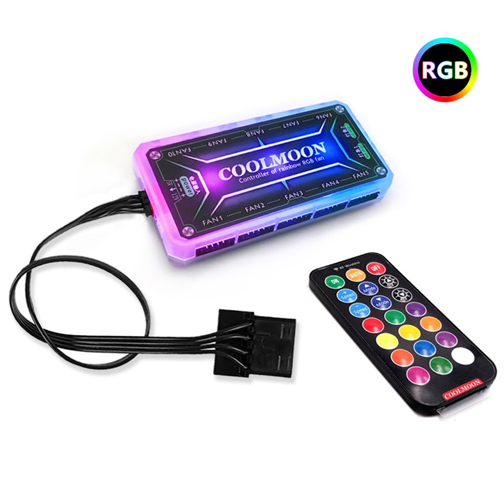 12cm Fast Control Box Gaming Desktop Computer Heatsink 12V 6Pin Color Changing Silent PC Case RGB Cooling Fan Hydraulic Bearing