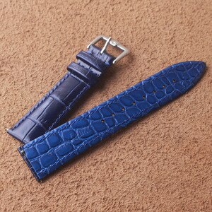Two-sided Cowhide Leather Watchband 18 19 20 21 22mm Genuine Leather Alligator Grain Strap Band Blue Polished Wristband men lady