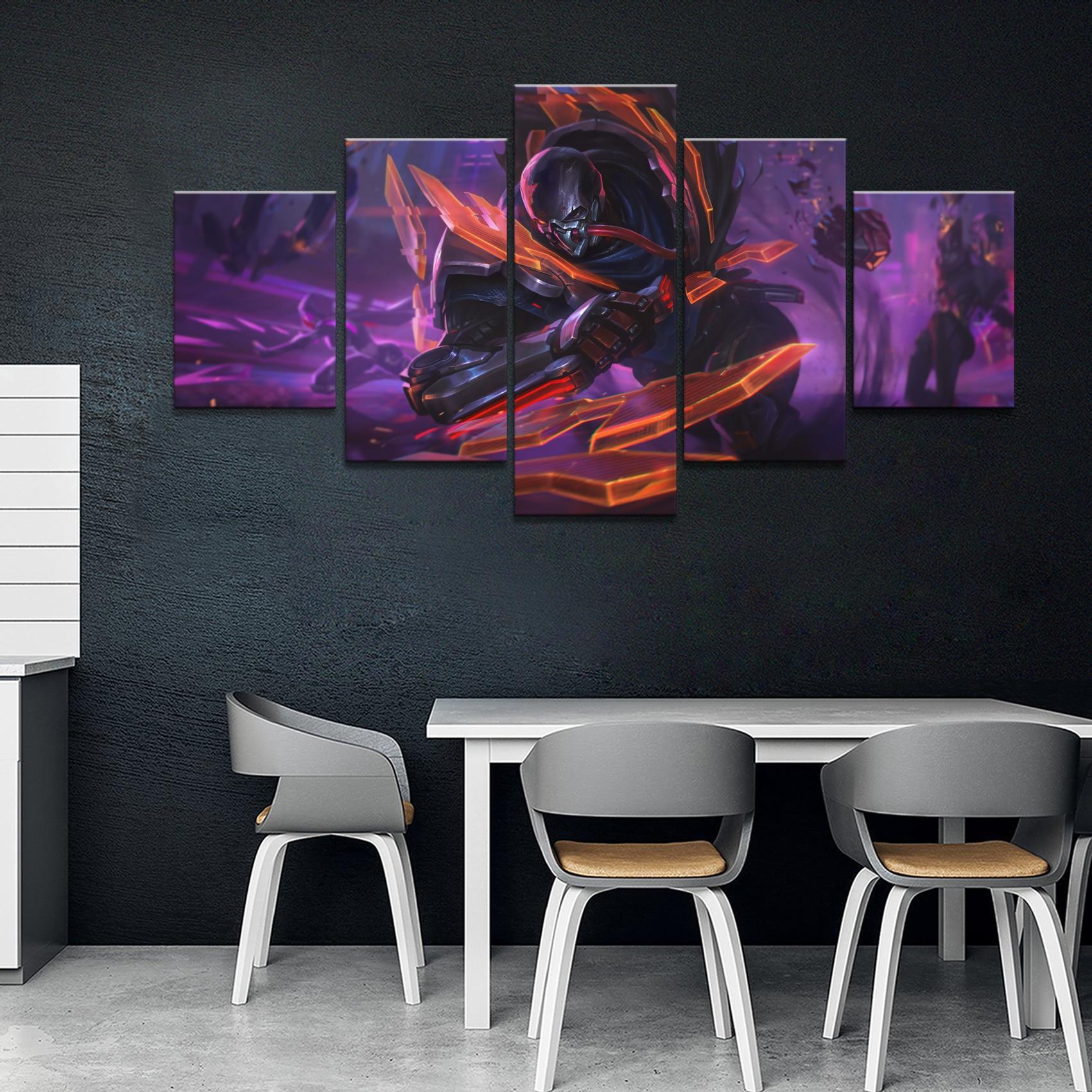 5 paneles LOL League of Legends Pyke juego lienzo impreso pintura para sala de estar pared arte decoración HD foto obras de arte cartel