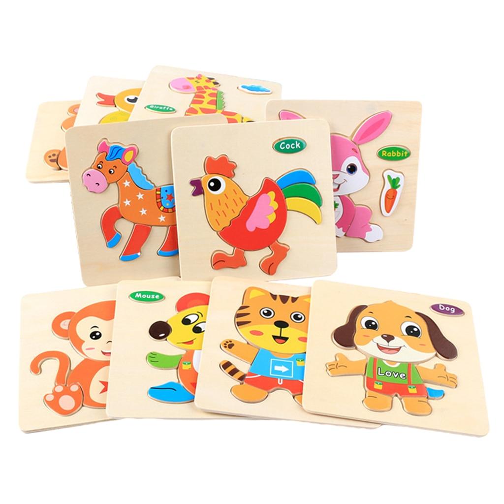 Wooden Puzzles Jigsaw Puzzle Set Animal Shape Color Montessori Toy