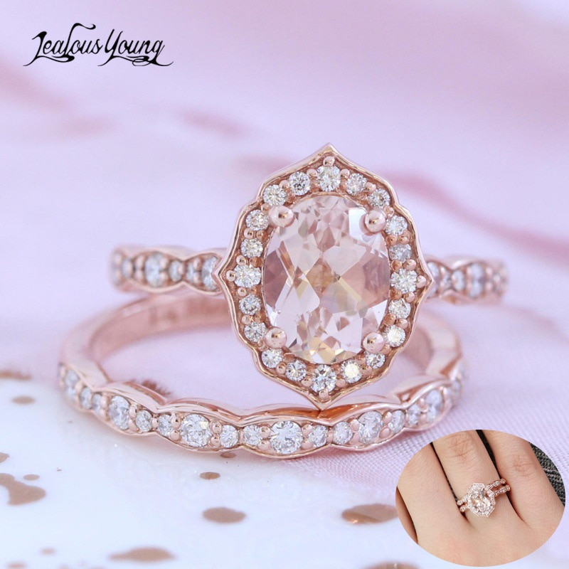 Female White Oval Ring Set Luxury Zirconia Ring Vintage Wedding Band Promise Engagement Rings for Women Couple Wedding Ring Gift