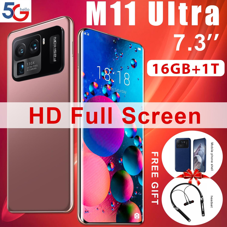100% Оригинальный XIAOM11 Ultra 16 + 1T Andriod 11 смартфон 7,3 дюймов HD + 2280*3200 Qualcomm Snapdragon 888 мобильный телефон 48 + 64 мп