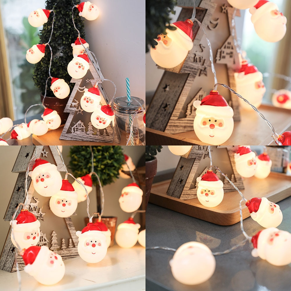 100cm 10 LED Christmas Light Tree Decor Battery Operate Light String Merry Christmas Santa Claus Snowman Light Xmas Home Decor