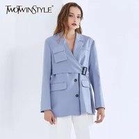 twotwinstyle casual irregular blazer for women notched long sleeve sashes blue blazers female 2020 autumn fashion new clothing