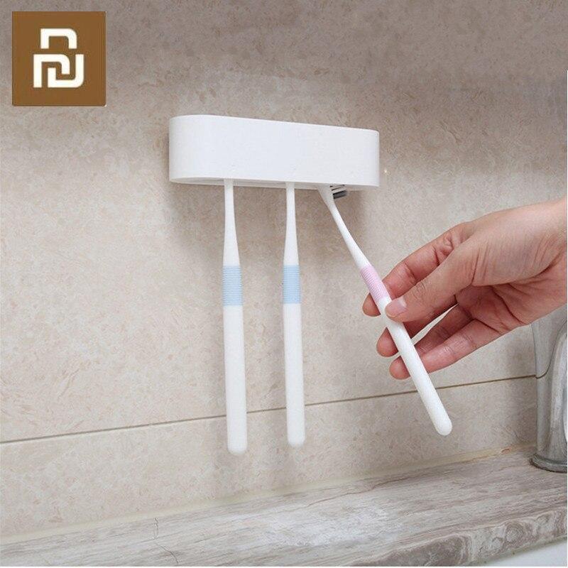 Organizador de almacenamiento para baño Happy Life, soporte para cepillo de dientes, soporte para pared, soporte adhesivo, productos de baño