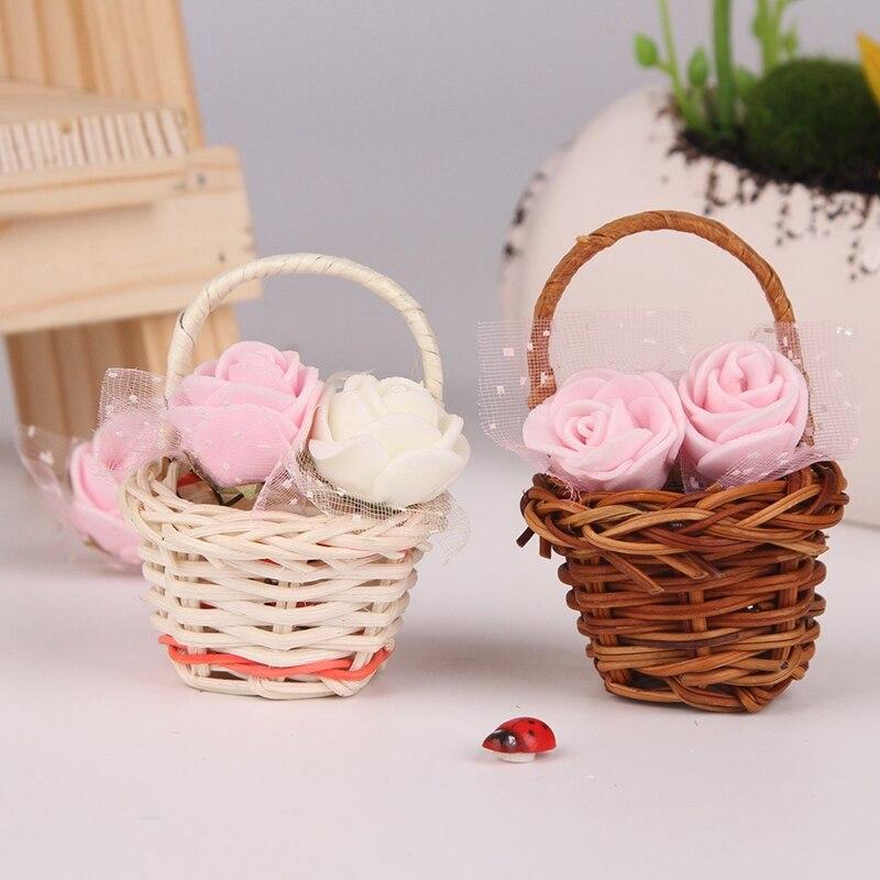 Mini Plastic Weaving Basket craft decor Simulate Fruit Rattan Storage Box For  Tea Picnic Basket Organizer Handmade