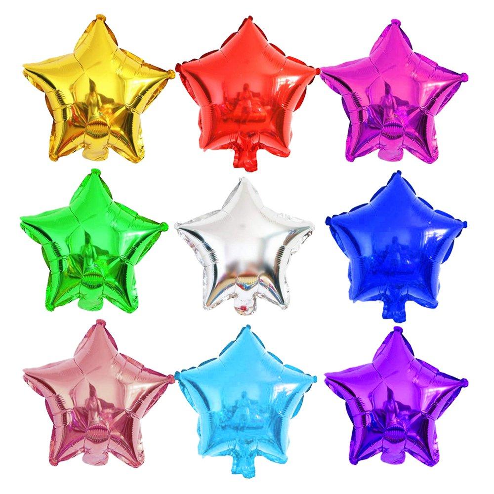 Globos de pentagrama de 10 pulgadas estrella de cinco puntas globo de aluminio de estrella para fiesta de vacaciones decoraciones para fiesta de cumpleaños niños