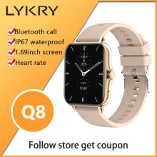 LYKRY Q8 Smart Watch Women 1.69inch Screen Bluetooth Call Men's Watches Wristband Heart Rate Fitness
