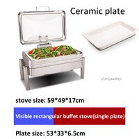 Rectangular luxury glass buffet stove Alcohol heating/Electric heating plate food heating machine Various match heating furnace