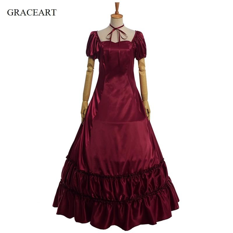 Retro Civil War Dress Women Satin Black Red Sleeveless Prom Gothic Lolita Ball Gown