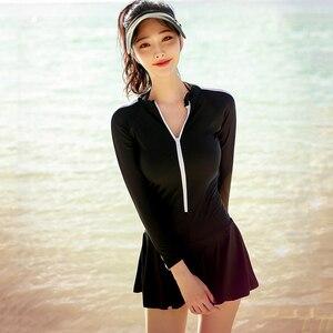 Women Black Swimsuit One Piece Swimwear Sexy Long Sleeves Push Up Swimming Skirt Surfing Ladies Skirted Rash Guard Bodysuits