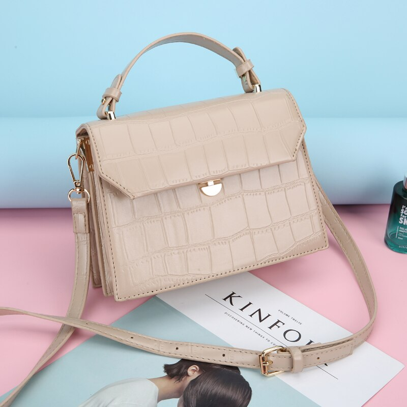 Luxury Designer Leather Shoulder Bags for Women 2021 Fashion New Solid Color Stone Pattern Crossbody