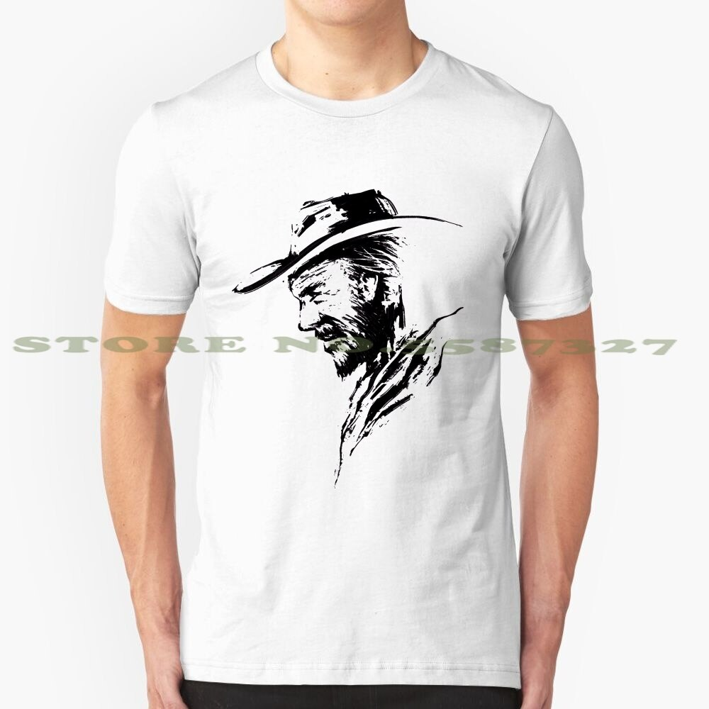 O líder da morte legal design camiseta na moda t cowboy selvagem oeste duelo chapéu intensidade intensa legal elegante barba squint 19th