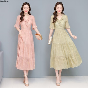 Houthion Women's Dresses Solid Long Dress Loose Plus Size Bohemia New Draw Back Casual Fashion Chiffon A-LINE Mid-Calf