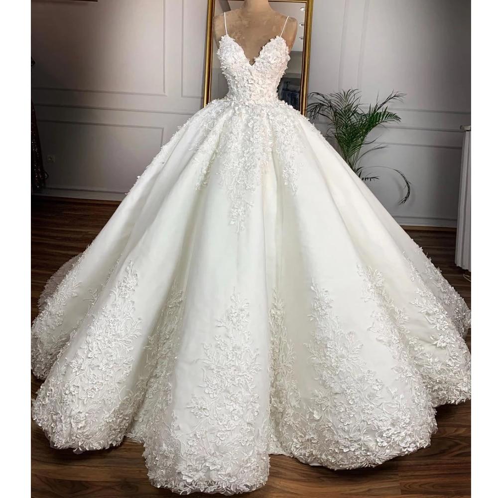 الخامس الرقبة فستان الزفاف 2021 ثلاثية الأبعاد زهرة مثير السباغيتي حزام الكرة زي العرائس الدانتيل يصل حجم كبير