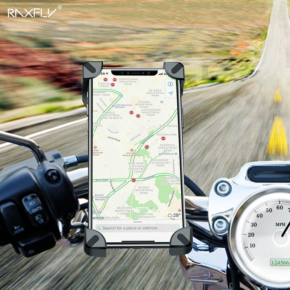 Soporte de teléfono de bicicleta RAXFLY para iPhone Samsung, soporte de teléfono móvil para motocicleta, soporte para manillar de bicicleta, soporte de montaje GPS