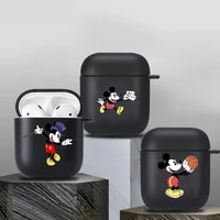 mickey minne cartoon case for airpods 1 2 earphone funda suitable black soft apple airpods 2 wireless bluetooth charging box