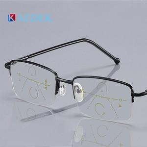 KAEDEK High Quality Reading Glasses Business Semi-Rimless Presbyopia ReadingEyewear For Male Glass Lenses Presbyopia Alloy Frame