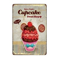 Metal etain signe cupcake boutique de bonbons Bar Pub maison Vintage retro affiche cafe ART