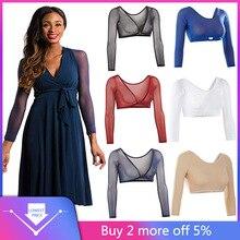 Frauen Sowohl Seite Tragen Sheer Plus Größe Drei Viertel V-ausschnitt Nahtlose Arm Shaper Crop Top Hemd Blusen #25