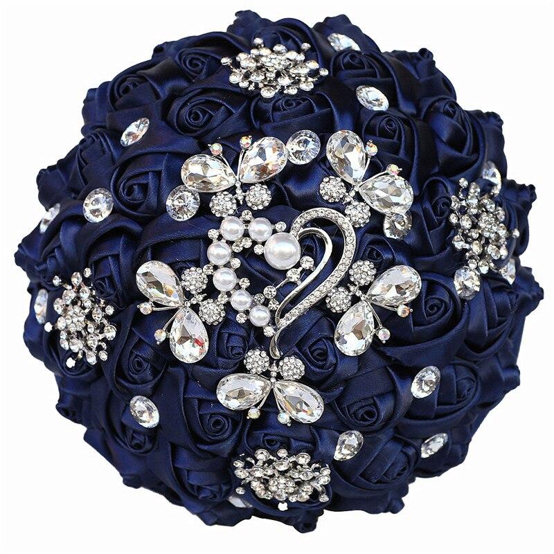 WifeLai-باقة زفاف من حجر الراين متعددة الألوان مقاس 18 سنتيمتر ، فاخرة ، على الطراز الأوروبي ، مستلزمات صناعة يدوية W295