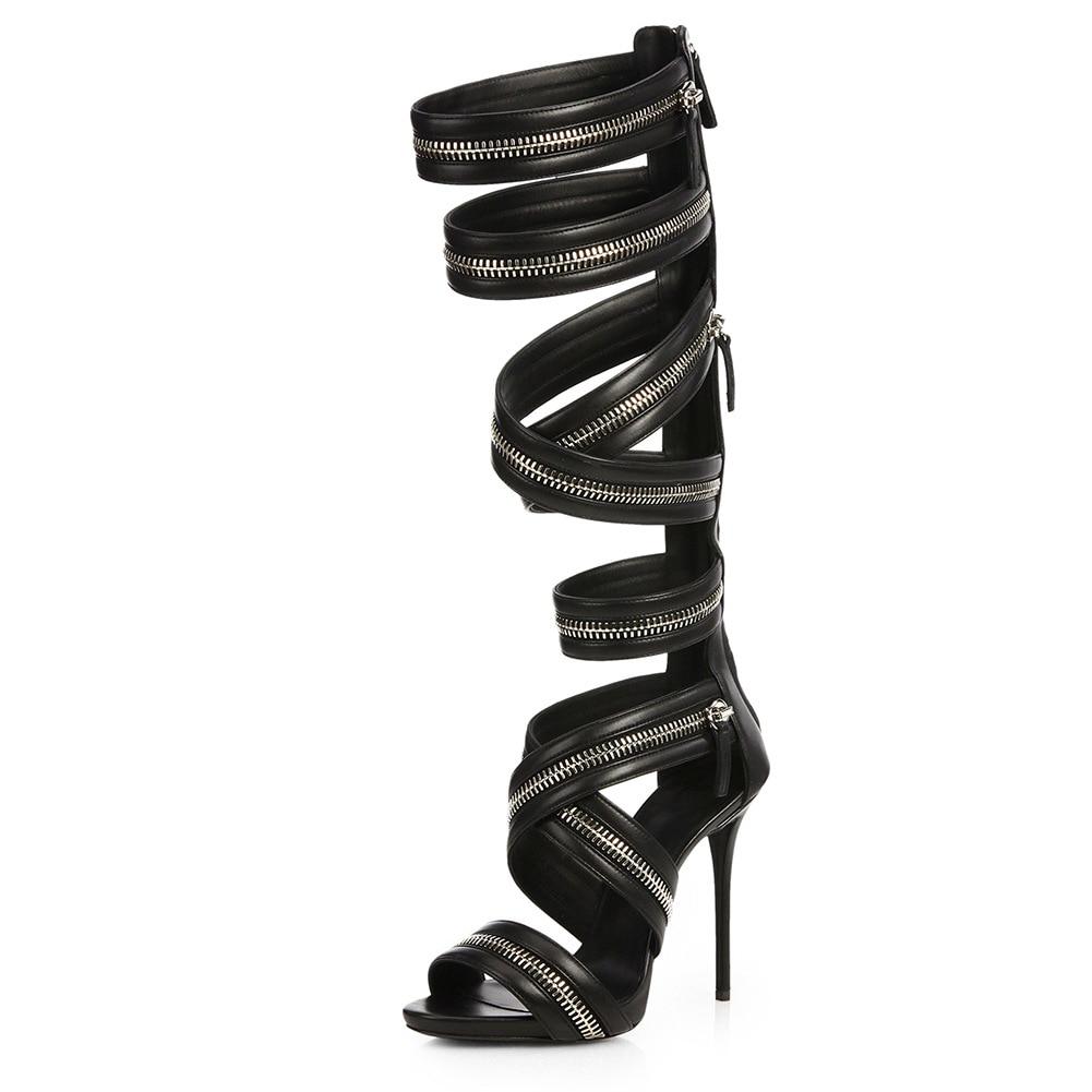 2021 Summer Women's Sandals Super High Heels Sandals Zipper Decoration Knee High Gladiator Sandalias Boots Roman Shoes Woman
